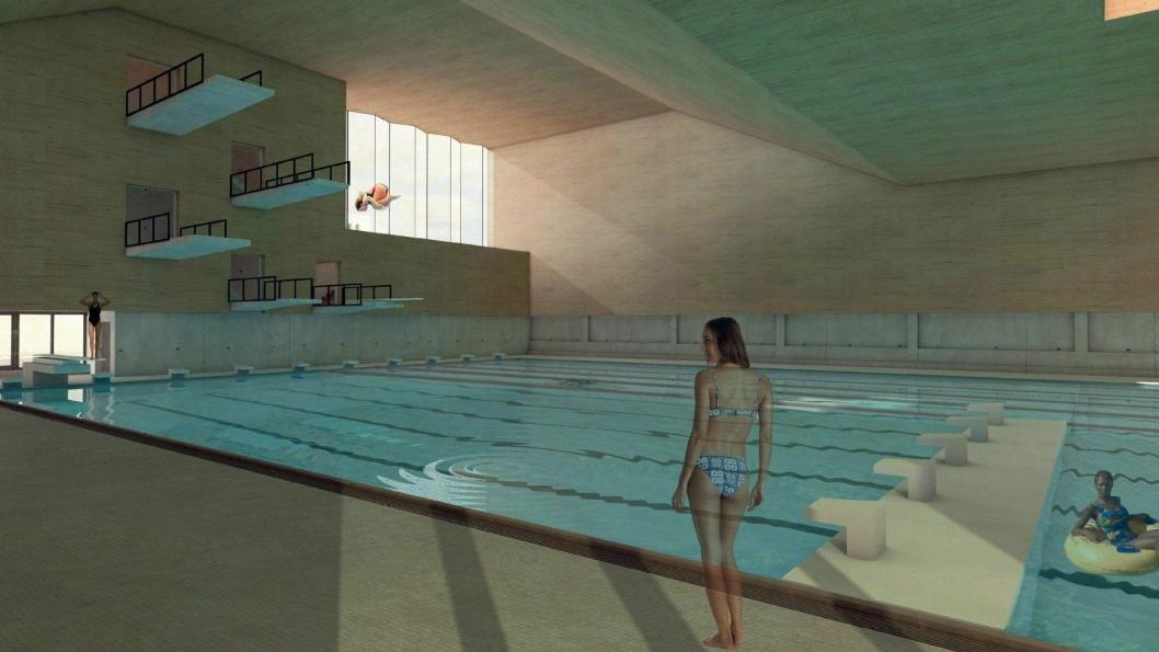 KAN BLI HALVERT: Svømmehallen på Langhus skulle bygges med tre basseng. Det største skulle ha internasjonale mål (50x25). Nå foreslår rådmannen å halvere lengden til 25 meter.Antall stupetårn er også foreslått redusert fra fem til tre. Tribunekapasiteten er foreslått halvert til 250 sitteplasser, som ikke oppfyller krav til et nasjonalanlegg.
