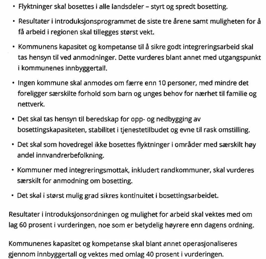 KRITERIER: Departementet har besluttet følgende kriterier for bosetting av flyktninger i kommunene i 2019.