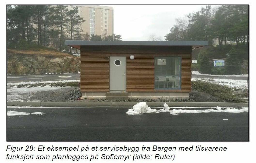 SLIK KAN DET SE UT: Et eksempel på et servicebygg i Bergen med tilsvarende funksjon som planlegges på Sofiemyr.
