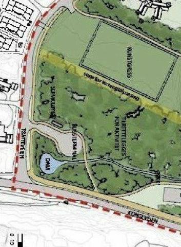BUSSTERMINAL OG SNUPLASS: Dette er foreslått bygget øst for Tømtebanen.