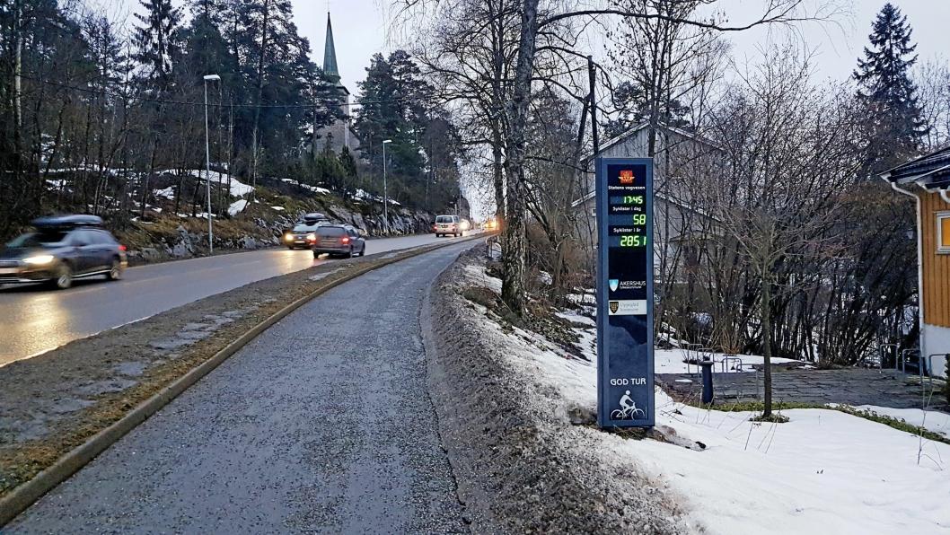 SYKKELTELLEREN: Det er Statens vegvesen som bearbeider tallene fra sykkeltelleren i Skiveien, som registrerer antall passeringer på sykkel. Tabellen i saken er basert på disse tallene.