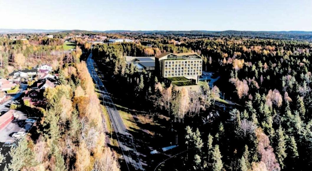 23 METER HØYERE ENN THE WELL: Illustrasjonen viser det planlagte hotellet, sett ovenfra, fra sydvest.
