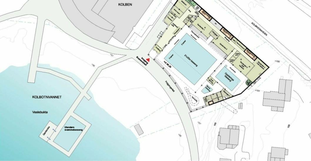 SLIK KAN DET BLI: I forprosjektet for svømmehallen på Kolbotn har kommunen tegnet inn et hovedbasseng ved Kolben samt et flyttende basseng på Kolbotnvannet .