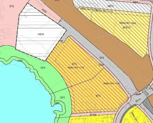 BT3 + BT4: Det er også bestemt at nabotomten sør for Generasjonsparken (feltet BT4), som skal utvikles til enda flere boliger, skal ses på samlet i detaljreguleringen.