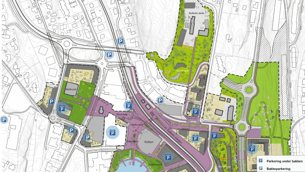 KRAFTIG ØKNING: Oversikten fra Oppegård kommune  viser at vi vil få enda flere parkeringsplasser rundt Kolbotn sentrum i fremtiden. Kartet er en illustrasjon som viser i hvilke områder det vil bli etablert parkeringsplasser. Det er ikke en detaljert gjengivelse av hvordan de enkelte bygninger vil bli seende ut.