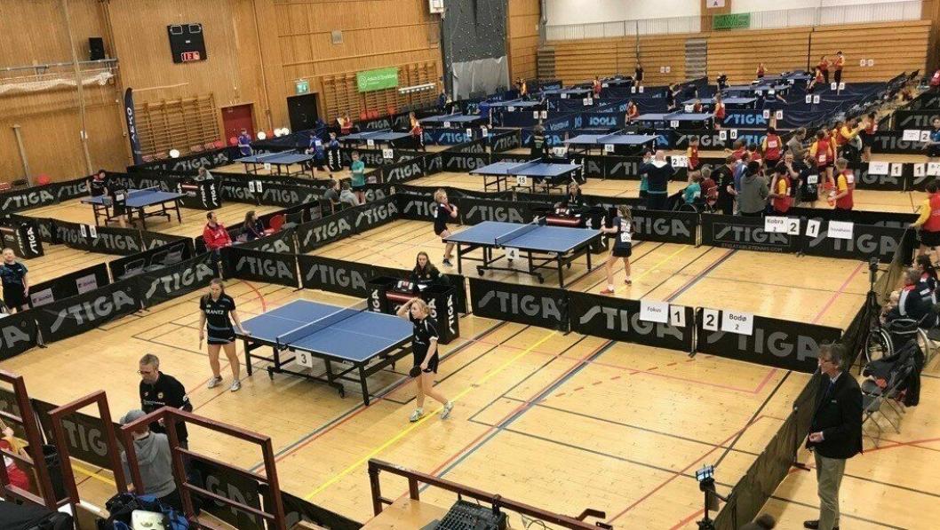 FJERDE ÅRET: NM i bordtennis for yngre blir arrangert i  Sofiemyrhallen for fjerde gang. Dette bildet ble tatt under fjorårets NM.