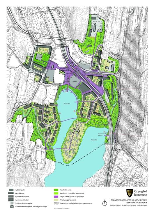 TO BROER: Illustrasjonsplanen for områdereguleringen for Kolbotn sentrum fra 1. mars 2017.
