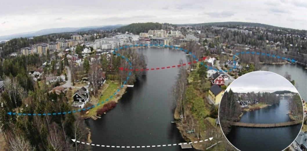 TO BROER: En eventuell bro fra Båtsleppa til Tangen (rød linje) og/eller fra Tangen til Jordbærsletta (hvit linje) har vært foreslått i 2016. Den blå linjen viser den tidligere forslåtte løypen rundt Kolbotnvannet. Bildet viser kun montasje fra tidligere omtale av saken.