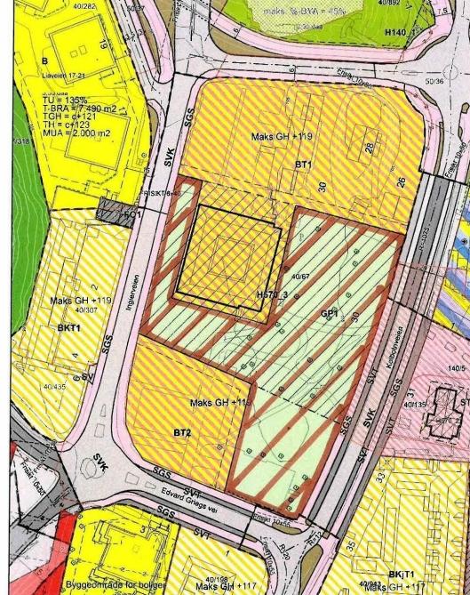 RARKEN I RÅDHUSKVARTALET: Rådhusparken er skravert i rødt på kartet.
