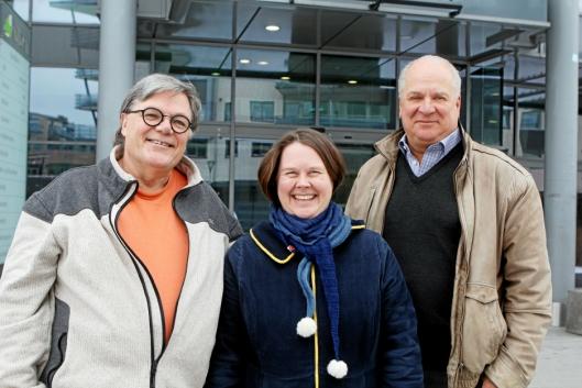 SØKER TALENTER: Dirigent Bjørn Morten Kjærnes, leder Marianne Grini og koordinator Magne Braaten i Oppegård Janitsjar håper på mange henvendelser fra unge talenter de neste ukene.