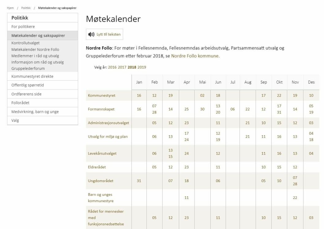 MANGLENDE OPPFØRING: Alle ordinære møter i Formannskapet ligger ute på kommunens nettside på «møtekalender», med unntak av det uformelle formannskapsmøtet den 22. oktober som ikke står på møtekalenderen.