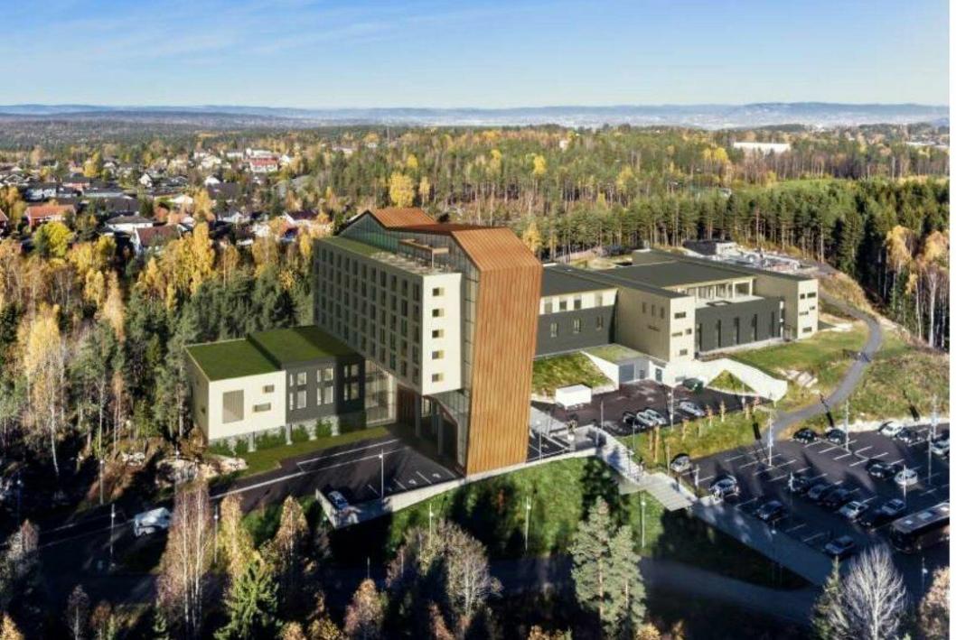HOTELLET SETT FRA SYDØST: Illustrasjon viser det planlagte hotellet, sett fra sydøst. Hotellet strekker seg over 8000 kvadratmeter og står i arkitektonisk stil med The Well sine 10.500 kvadratmeter.