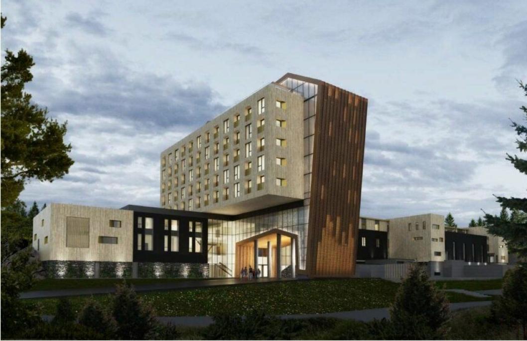 NI ETASJER: Illustrasjon viser det planlagte hotellet, sett fra sydøst. Hotellet blir på ni etasjer hvor fem etasjer er avsatt til hotellrom. De tre nederste etasjene skal inneholde atkomst, resepsjon, konferanse- og selskapslokale, møterom og behandlingslokaler. I den øverste etasjen er det planlagt restaurant med takterrasse.