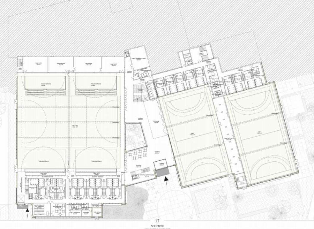 HALLENE: Slik er den foreløpige skissen over de nye hallflatene på Sofiemyr. Dobbelhallen til venstre ser nå ut til å få takhøyde på ni meter.
