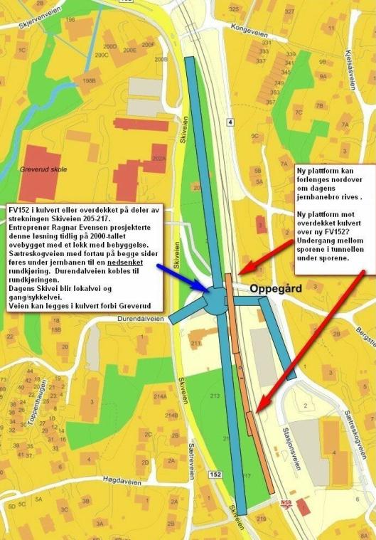 """FORSLAGET: Her kan du se <span dir=""""ltr""""><span class=""""_3l3x _1n4g"""">en enkel skisse av hvordan Skiveien kan legges om. Sætreskogveien føres i undergang under jernbanen sammen med kombinert gang/sykkelvei og undergang til jernbanens plattformer. Sætreskogveien og Durendalveien føres fram til ny rundkjøring på FV152. Her kan mange være med spleiselaget. Kilde: Oppegård Vel</span></span>"""