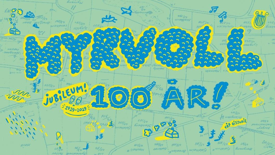 100-ÅRS EMBLEM: Dette er symbolet for alt Myrvoll Vel gjør og pynter med i forbindelse med arrangementet. Ilustrasjonen er laget av den lokale kunstneren Julie Aida, som vokste opp på Myrvoll (Tårnveien) og gikk på Østli skole.