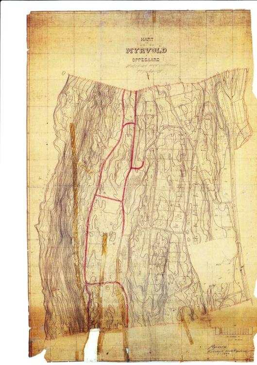 MYRVOLD 1942: Her kan du se kartet av Myrvoll fra 1942.