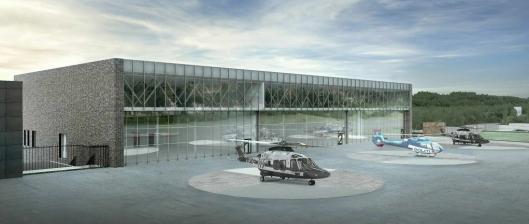 TRE HANGARER: De tre nye helikoptrene får plass i nye og lyse hangarer, hvor den ene skal fungere som et verksted og de to andre blir slått sammen til et stort rom.