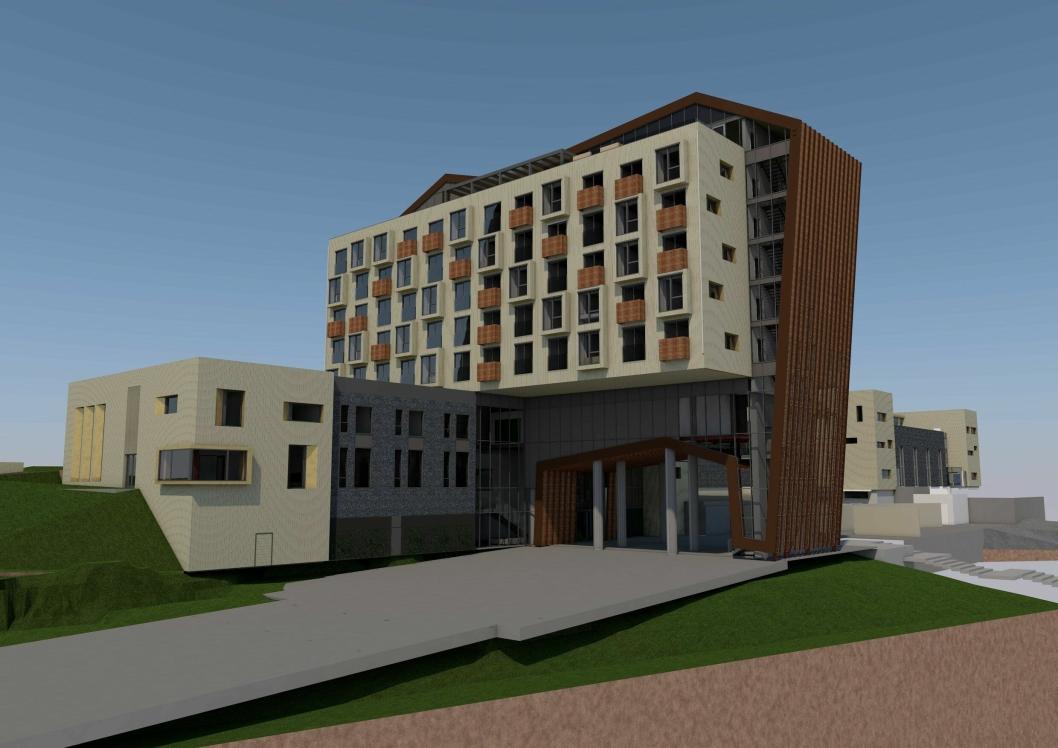 NI ETASJER: Illustrasjon viser det planlagte hotellet, sett fra sydøst. Hotellet blir på ni etasjer og får 104 rom. (Illustrasjon The Well)