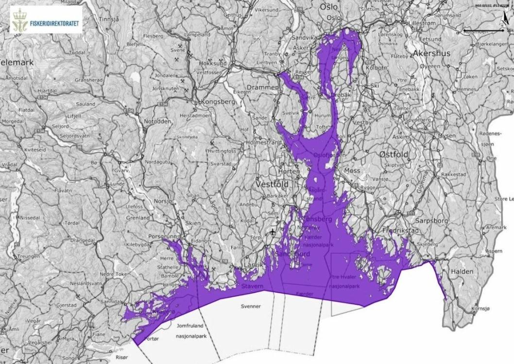 FORBUDSOMRÅDER: Kartet viser områdene hvor det er forbudt å fiske etter torsk.