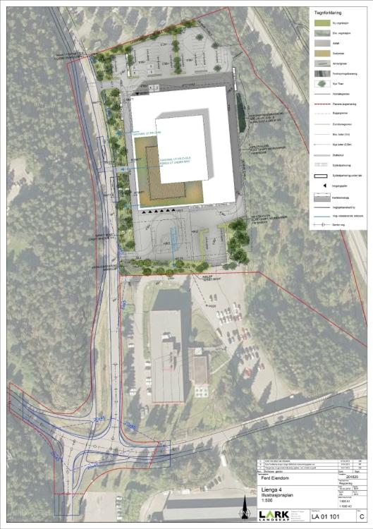 """50 PROSENT SOM GRØNT TAK: Det nye kontor- og næringsbygget kan bli etablert mellom """"Ford-bygget"""" i Lienga 2 og """"Stabbburet/Orkla-bygget"""" i Lienga 6-8. Det ble vedtatt at minst halvparten av takarealet skal utformes med vegetasjonsdekke som grønt tak. Illustrasjonsplan: Arcasa Arkitekter AS"""