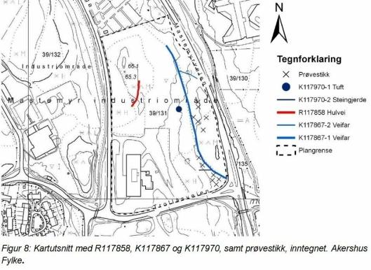 AUTOMATISK FREDET KULTURMINNE: I 2008 ble det funnet en automatisk fredet hulvei (rød strek på kartet). Utbyggeren foreslår å fjerne hulveien. Rådmannen støttet forslaget om dette.