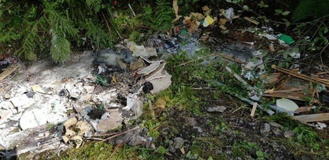MILJØKRIMINALITET: Det ble funnet mye søppel ved parkeringsplassen i Hvitebjørnveien, like før broen og handicap-fiskeplassen.