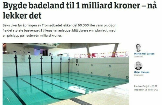 SKJERMDUMP: Gunnar Sveen henviser til artikkelen på nrk.no om svømmehallen i Tromsø.