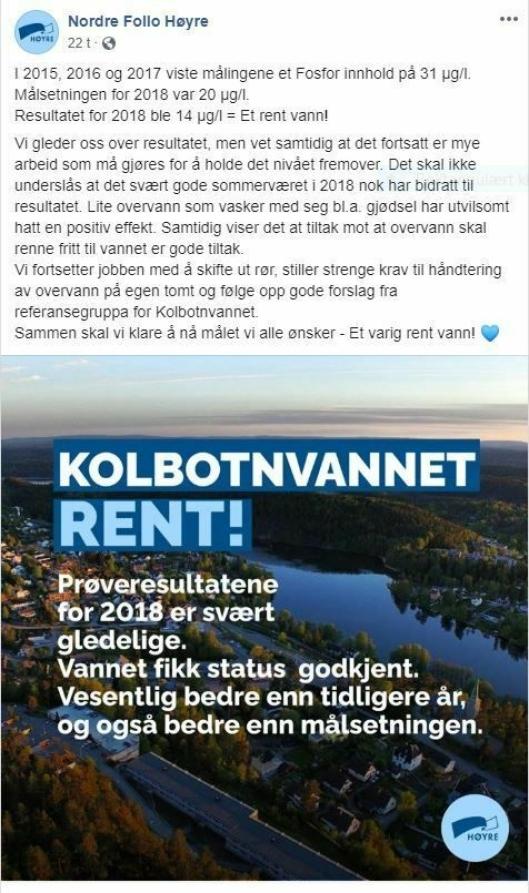 BØR OPPDATERES: Det var i juni i år at Nordre Follo Høyre meldte at tjernet var friskt.