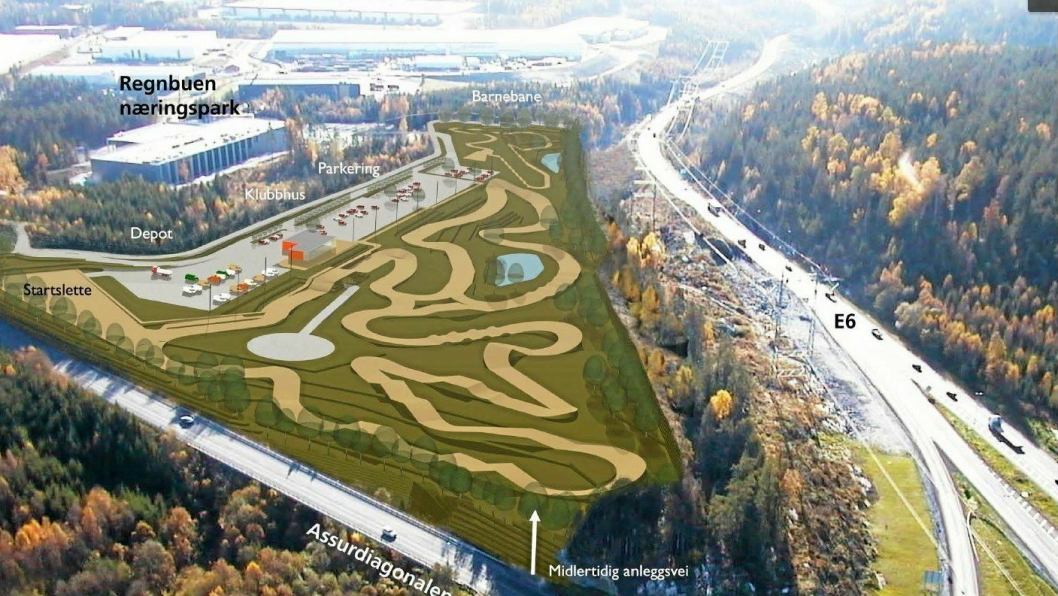 DET VEDTATTE PLANOMRÅDET: Motorcrossbanen i Assurdalen skal bygges i en lomme mellom E6 og Assurdiagonalen i Ski.