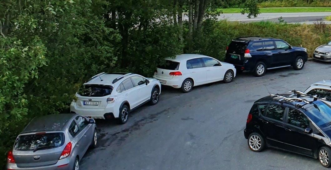 TAR SEG TIL RETTE: Det var også mange bilister som valgte å parkere bilene sine utenfor oppmerkede parkeringsplasser.