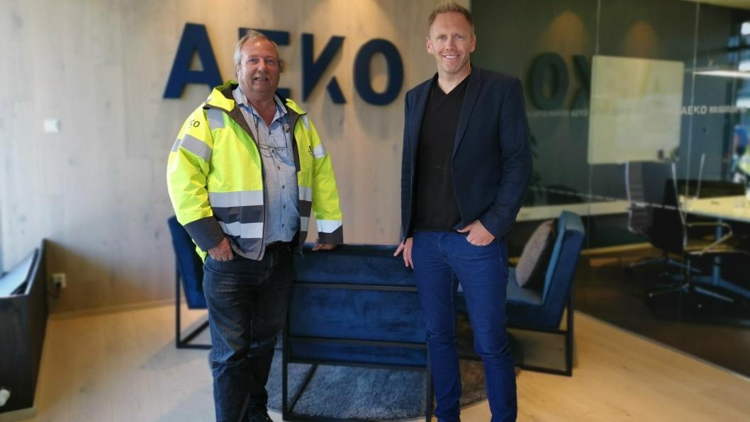 I VEKST: AEKO Gruppen som har kontorer i Edvard Griegs vei utvider med stadig flere konsepter og ansatte. Fra venstre: Fagsjef  i AKEO Entreprenør, Bjørn Ole Hansen, og Arne Erik Rønningen, daglig leder i AEKO gruppen