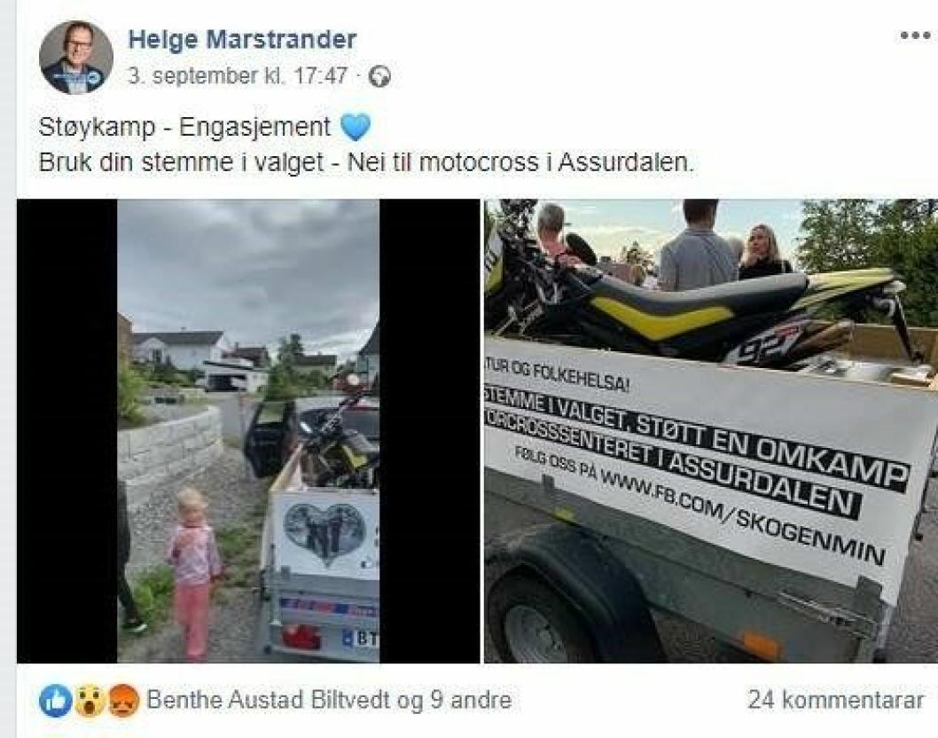 Faksimile fra Helge Marstranders Facebook-side