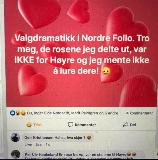 BEKLAGER OVENFOR VELGERNE: Tine C. Holm publiserte denne beklagelsen på sitt eget nettsted helsetine.no rett etter sjokkbeskjeden om samarbeid mellom Ap og Høyre.