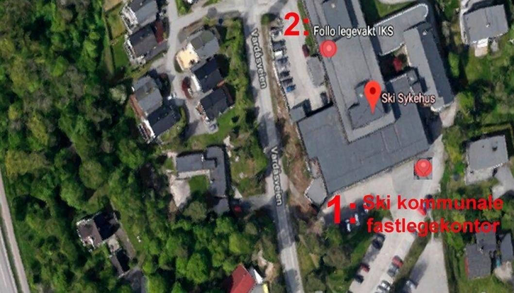 SIDEN 20. MAI 2019: Fra klokken 16:00 til klokken 08:00 på hverdager henvises innbyggerne i Oppegård til Ski kommunale legesenter (se nummer 1 på bildet), som befinner seg i samme bygning som Follo lokalmedisinske senter IKS (tidligere Ski sykehus, se nummer 2 på bildet).