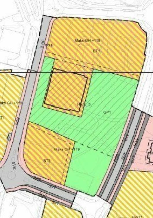 SKAL SELGES: Rådhuset skal bevares, men området nord for det (felt BT1) og syd for det (felt BT2) skal selges (alt utenom det grønne feltet).