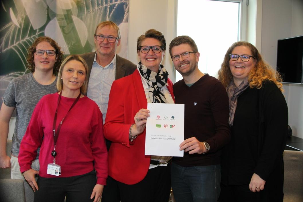 KONSTELLASJONEN: Disse partiene utgjør flertallet i Nordre Follo de neste fire årene. Fra venstre: Simen Bondevik (Krf), Camilla Hille (V), Tor Anders Østby (Sp), Hanne Opdan (Ap), Hans Martin Enger (MDG) og Elin Skifjell (SV). I tillegg er Rødt med på det valgtekniske samarbeidet.