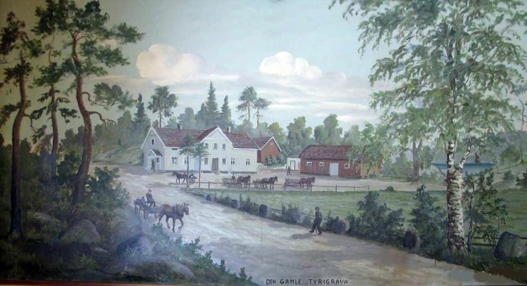 KUNST: Bildet av veggmaleriet i andre etasje på dagens Tyrigrava. Veggmaleriet viser gamle Tyrigraven, som var bygget rundt 1854 og brant ned i april 1932. Opp av asken steg Oppegårds første funkisbygg, Tyrigrava, kort tid etter. Arkitekten var Karl Grevstad.