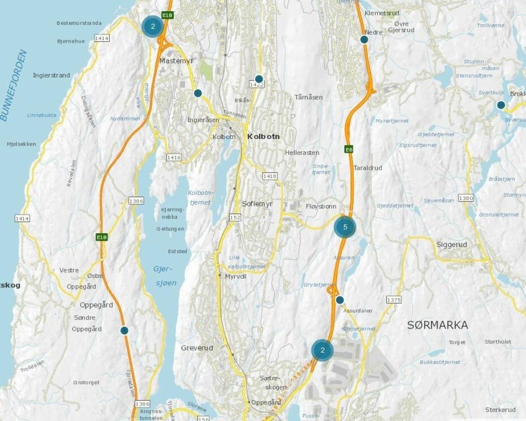 PUNKTMÅLERE I OPPEGÅRD: Statens vegvesens trafikkdata omfatter punktmålinger og strekningsmålinger foretatt med måleutstyr langs vegen.