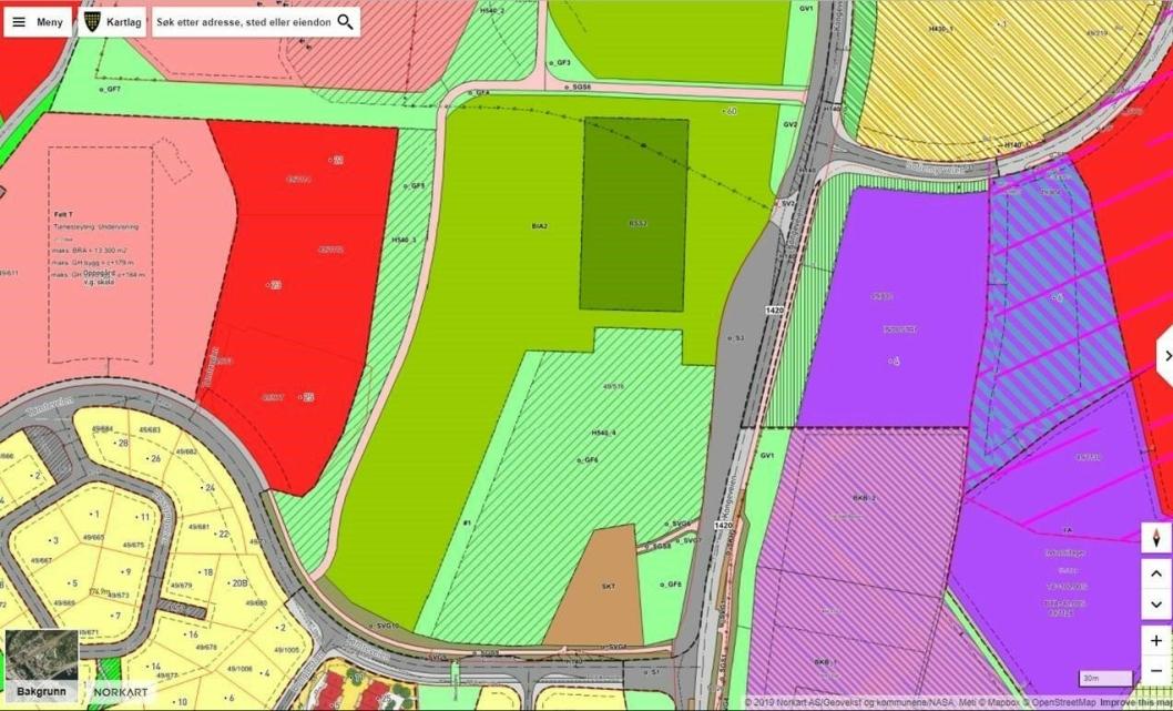 NYLIG OMREGULERT: På kartet kan du se området som er regulert til blant annet Tømtebanen. Området er tegnet inn blant annet på kommunekart.no