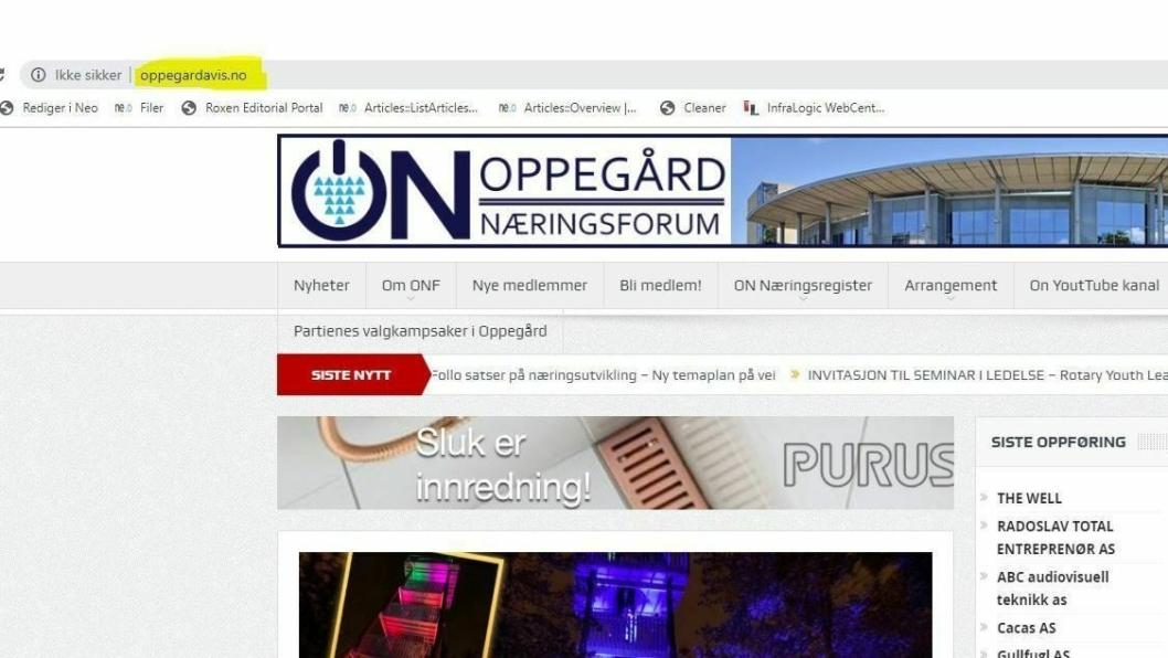 HAVNER FEIL: Skriver du nettadressen oppegardavis.no, ender du på hjemmesidene til Oppegård Næringsforum.