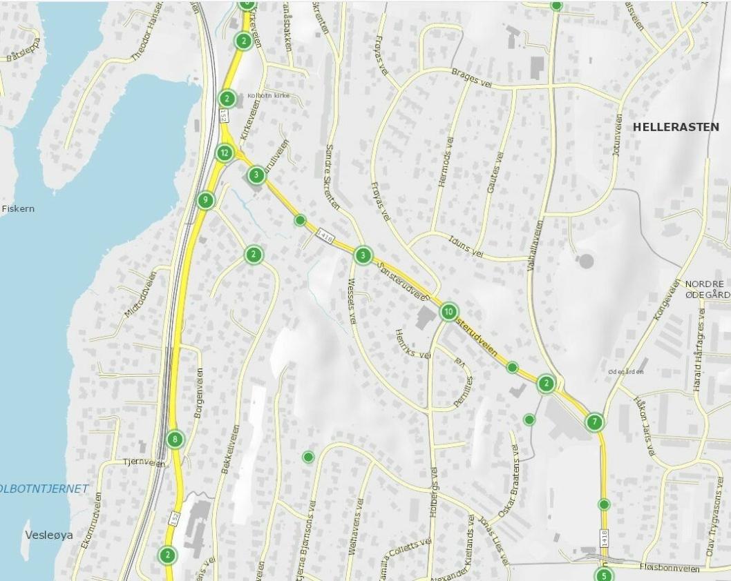 SJEKK TRAFIKKULYKKER I SØNSTERUDVEIEN:Statens vegvesen har utarbeidet et vegkart. Gå inn på vegkart.no og søk etter trafikkulykke i søkefeltet for å kunne finne de registrerte trafikkulykkene i ditt område.