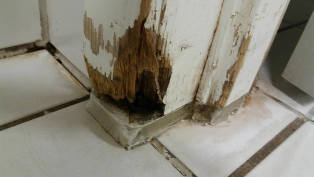RÅTTENT TREVERK: Slik så det ut i damegarderoben til varmtvannbassenget på Høyås bo- og rehabiliteringssenter.