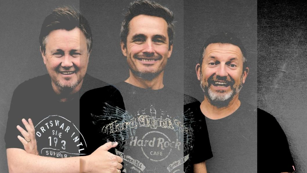 ROCKER KULLEBUNDEN: Menn Med Gitar spiller på Kullebunden lørdag 30. november, med coverlåter av kjente og kjære rockere. Fra venstre: Terje Huse, Geir Kirkevold og Tom Økland.
