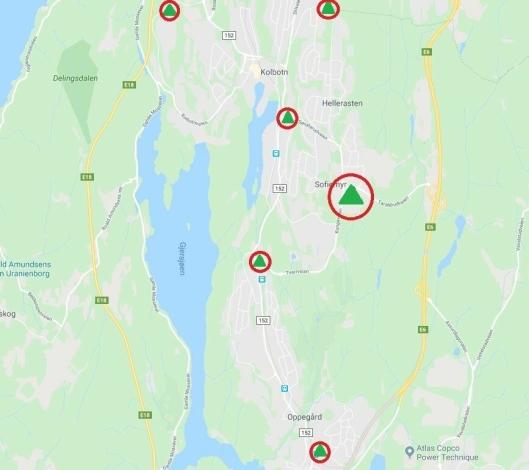 OMRINGET: Kiwi har planer om en ny butikk. Denne gangen på Sofiemyr. Med butikker på Oppegård, Myrvoll, Trollåsen, Tårnåsen, Kolbotn og snart Sofiemyr, har Kiwi omringet de andre matvarebutikkene i Oppegård kommune.