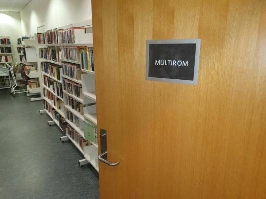 MULTIROM: Innbyggertorget befinner seg foreløpig i multirommet ved Oppegård bibliotek.