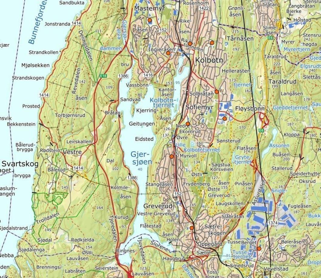 KART OVER TYFONER: Her kan du se en oversikt over de ni tyfonene i tidligere Oppegård kommune.