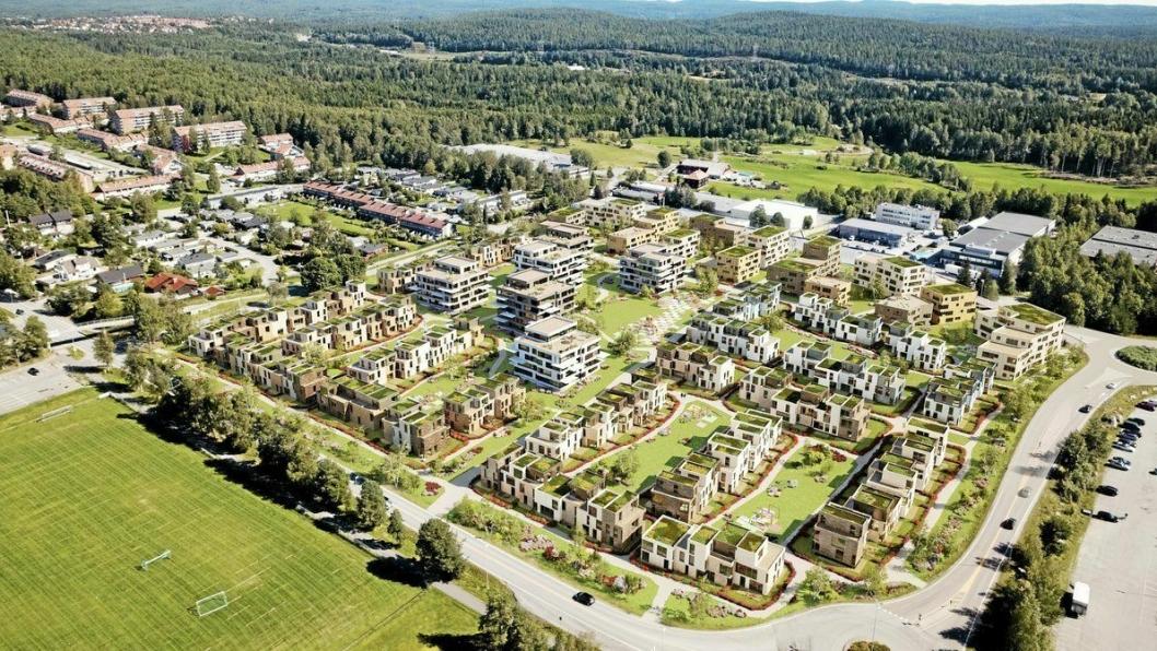FRA 500 TIL 1200 BOLIGER: Forrige eier av DSV- og Jernia-tomtene ønsket å bygge ut tomtene med opptil 500 boliger, mens den nye eieren vil bygge mer enn det dobbelte av det. Illustrasjonen viser planen for opptil 500 boliger.