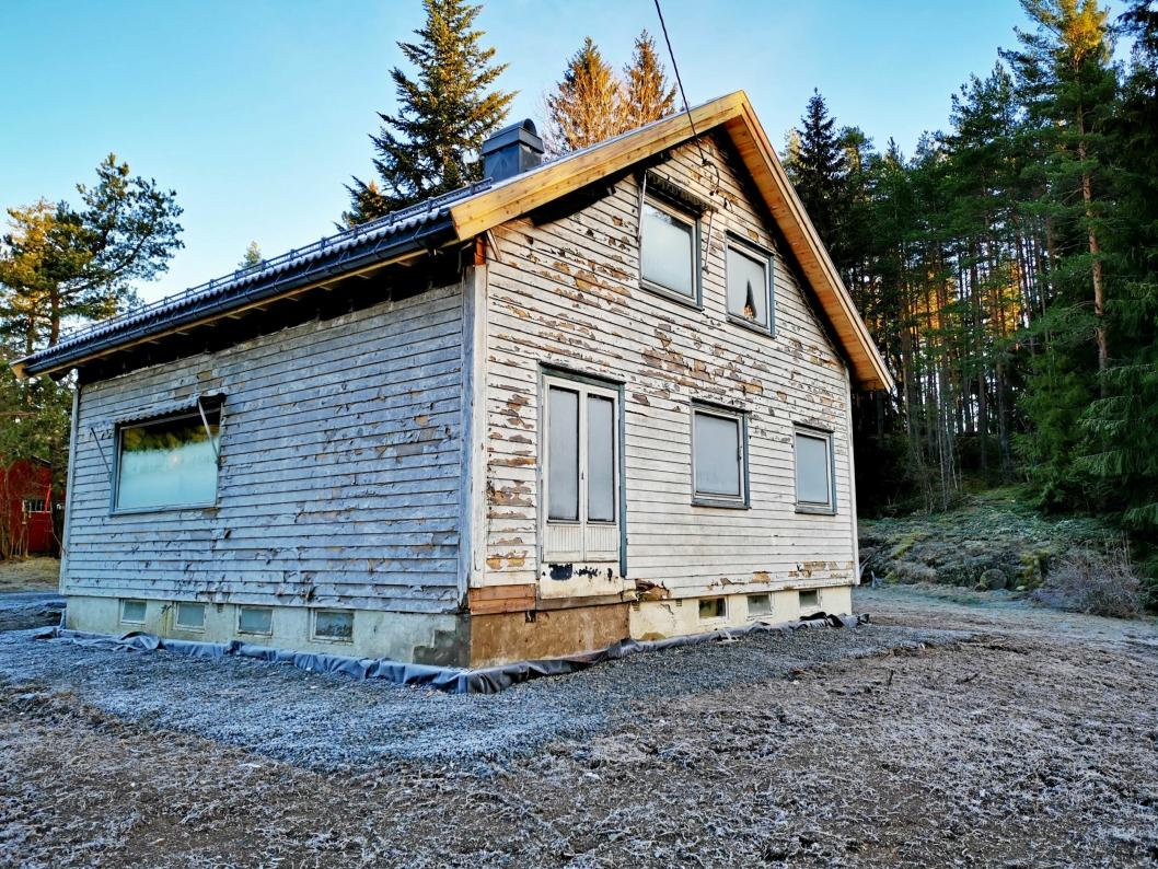 NÅ: Vibeke og Espen planlegger å beholde husets fasade, men må søke om dispensasjon ettersom eiendommen deres ligger i marka.