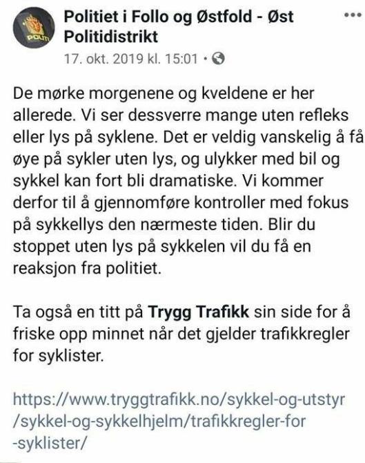 VARSLET EN UKE FØR KONTROLLEN: